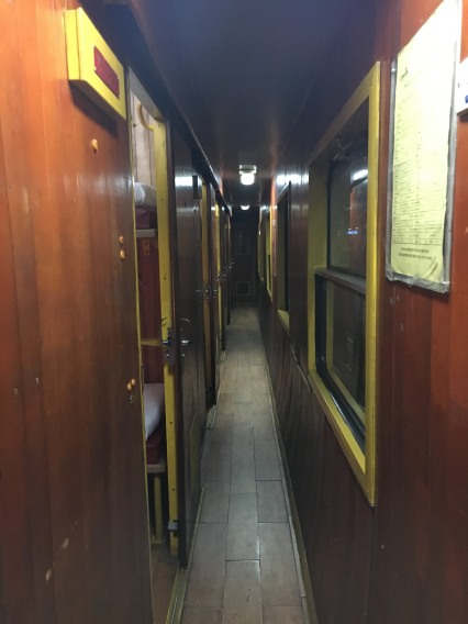 The hallway of the night train